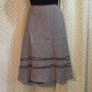 Ann Taylor Loft brown and white linen skirt